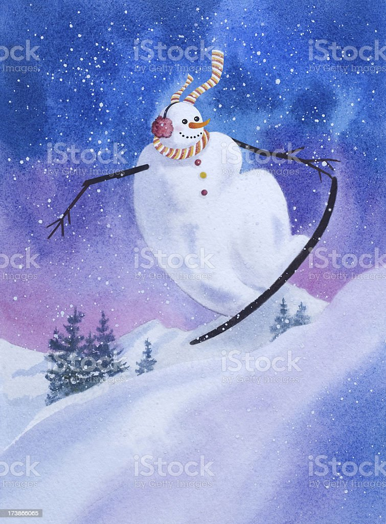 Snowboarding Snowman Catching Some Air royalty-free stock vector art