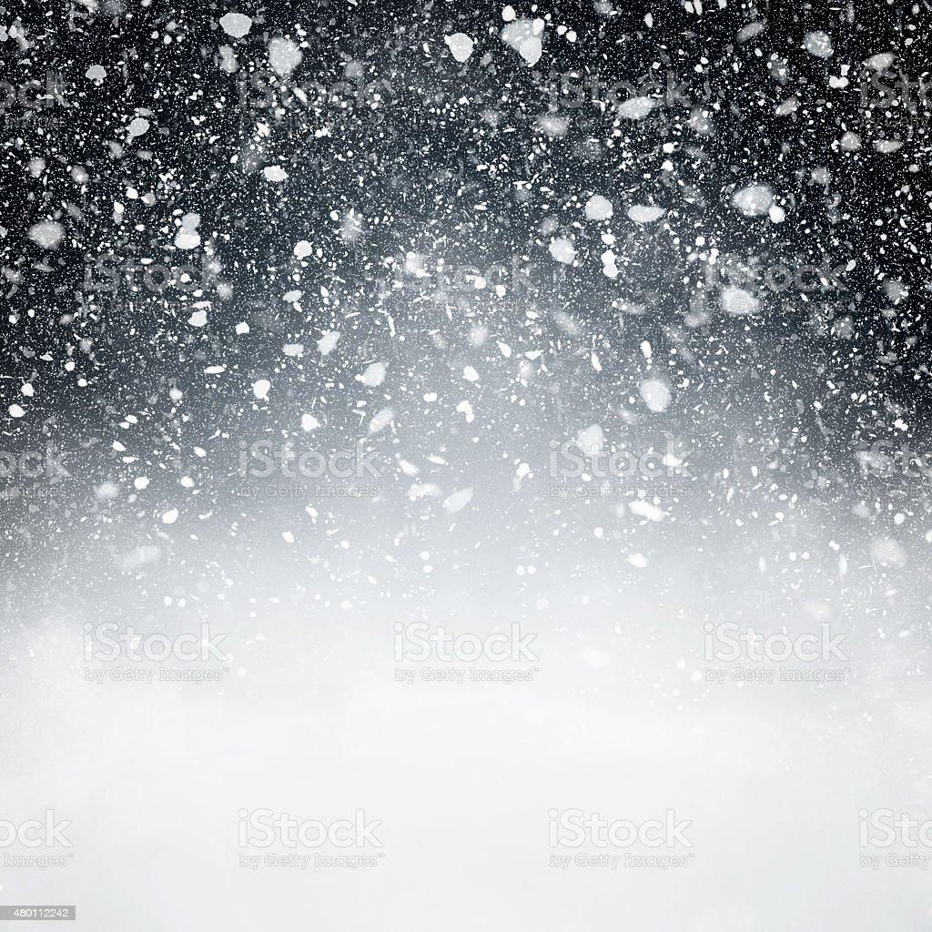 Snowfall with Dark Blue Background vector art illustration