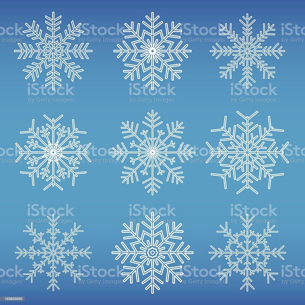 snowflake icon set vector art illustration