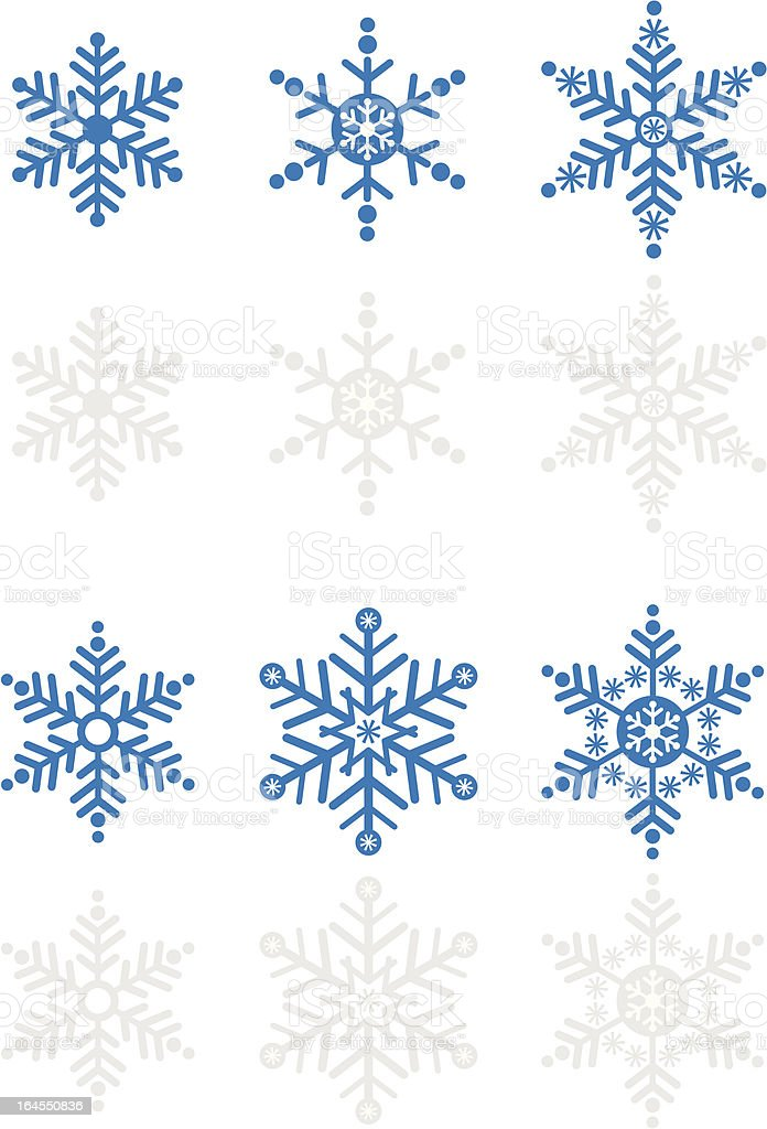 Snowflake Icon Set in Blue royalty-free stock vector art