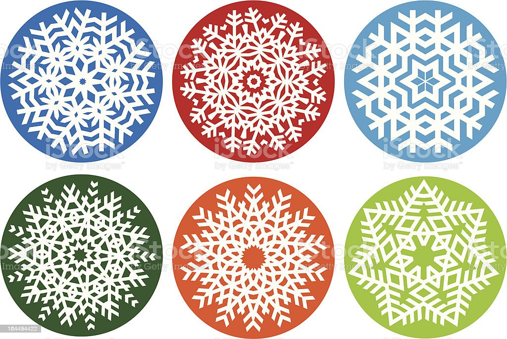 Snowflake set, vector design elements royalty-free stock vector art