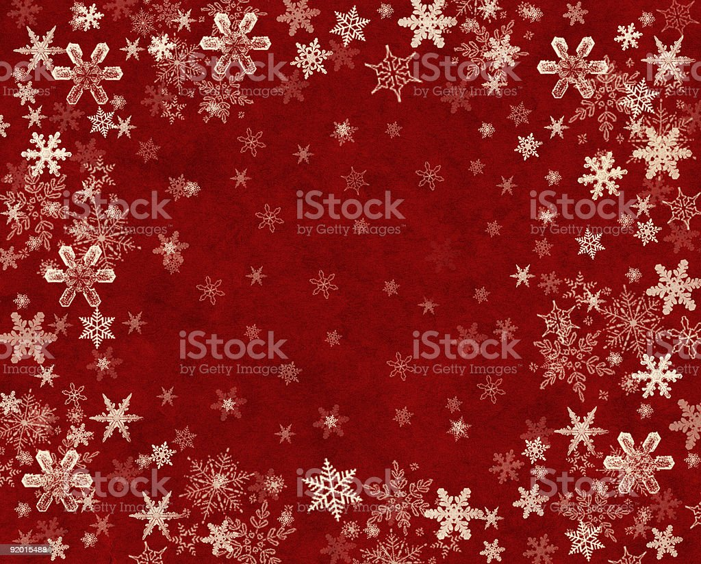 Snowflakes on Red royalty-free stock vector art