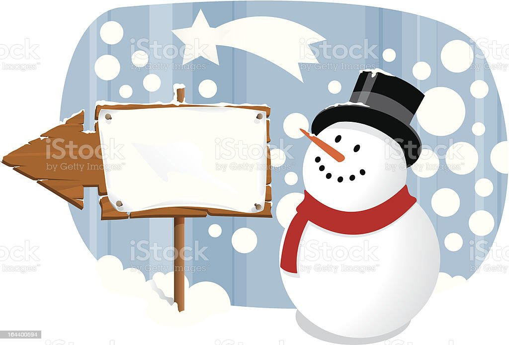 Snowman and arrow royalty-free stock vector art