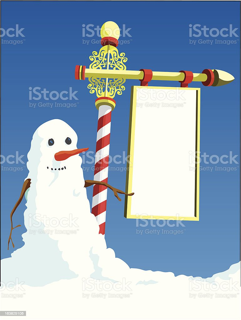 Snowman at the North Pole royalty-free stock vector art