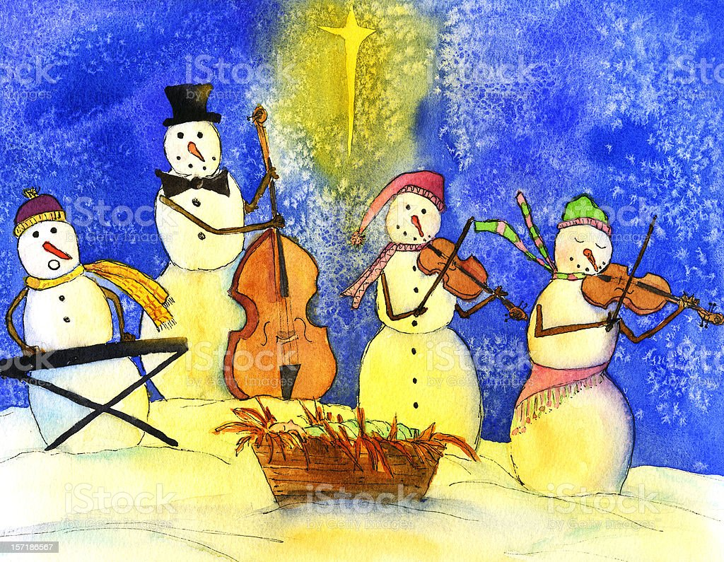 Snowman Band royalty-free stock vector art