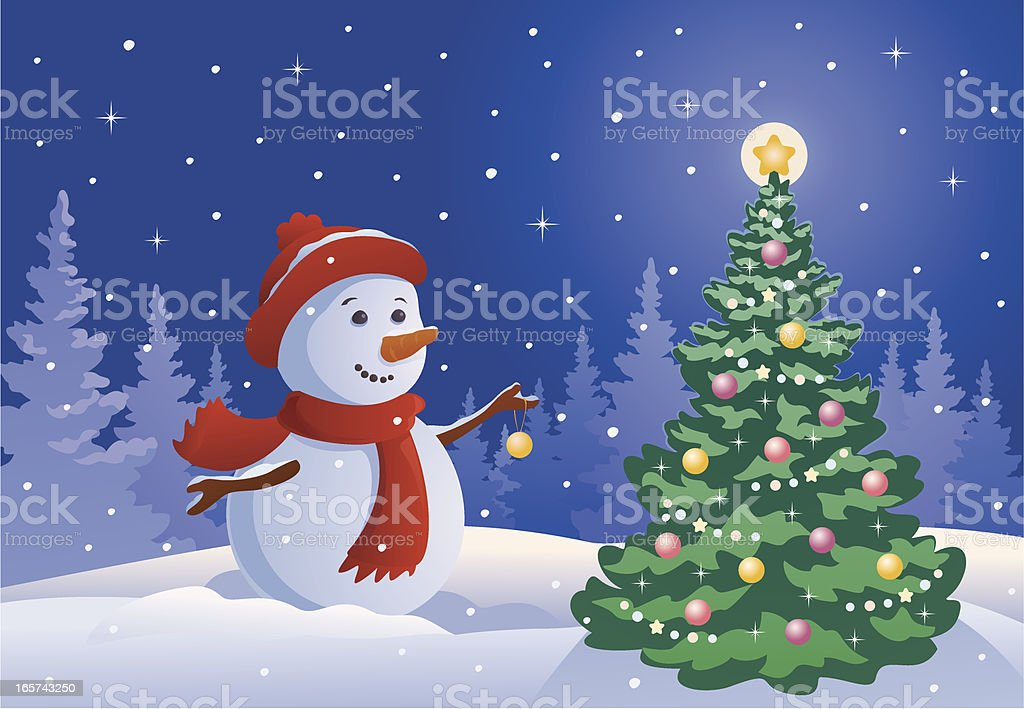 Snowman decorating a tree royalty-free stock vector art