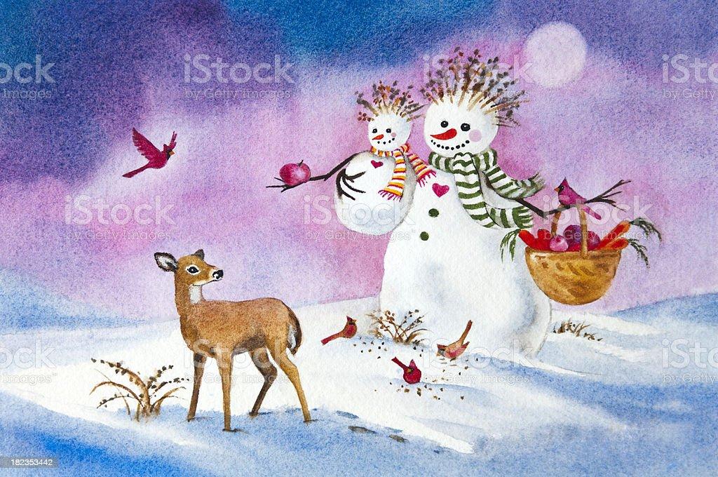 Snowman Family Feeding Wildlife vector art illustration