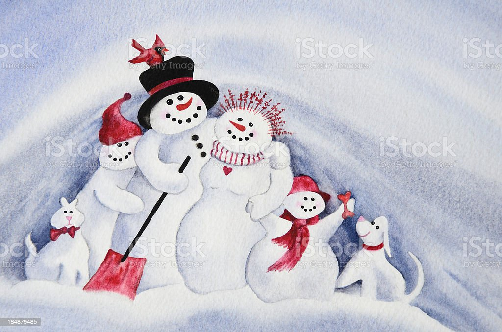 Snowman Family Potrtrait royalty-free stock vector art