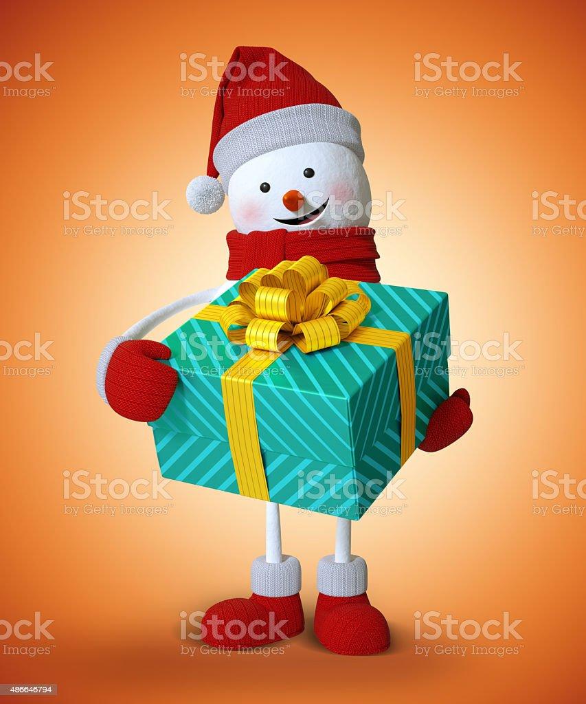 snowman holding wrapped gift box, 3d character illustration, Chr vector art illustration