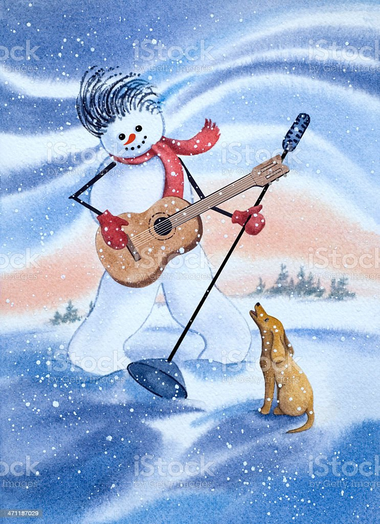 Snowman King And Hound Dog vector art illustration