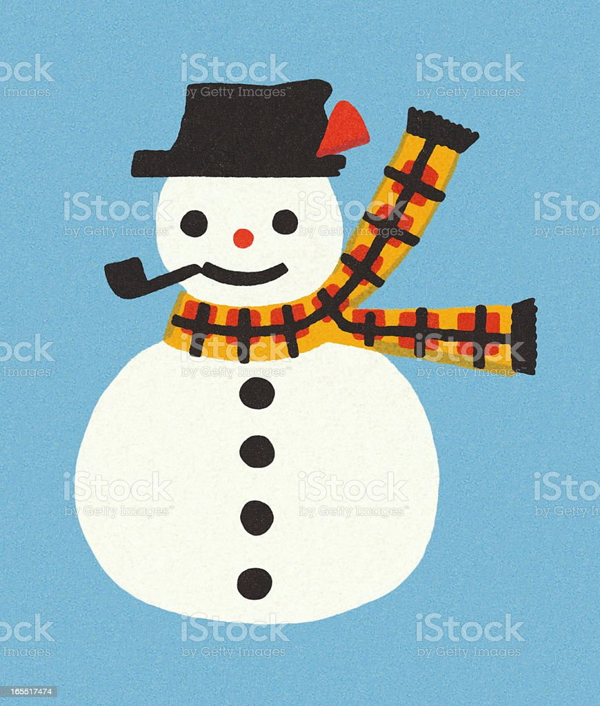 Snowman on a Blue Background royalty-free stock vector art