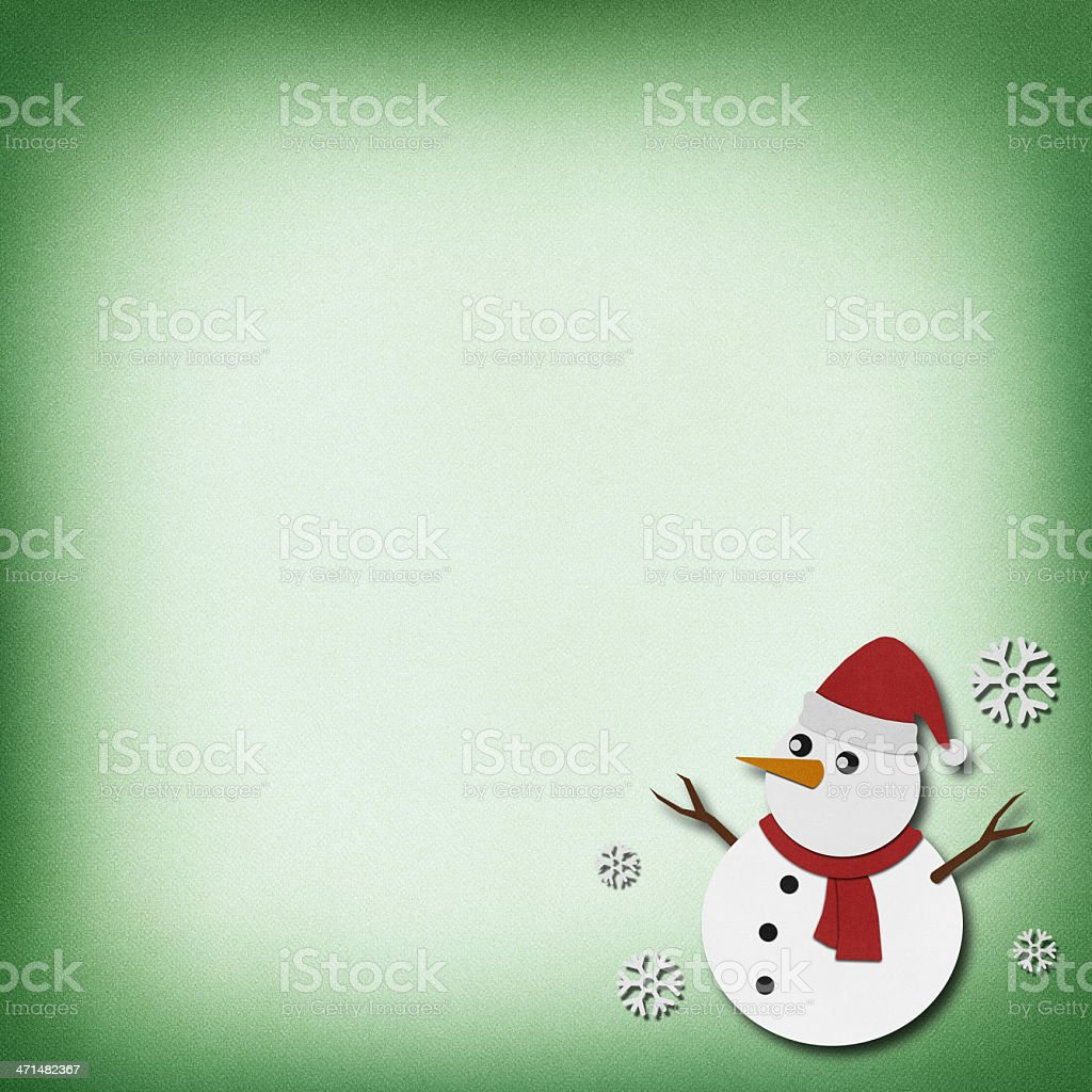 Snowman recycled papercraft  background. royalty-free stock vector art