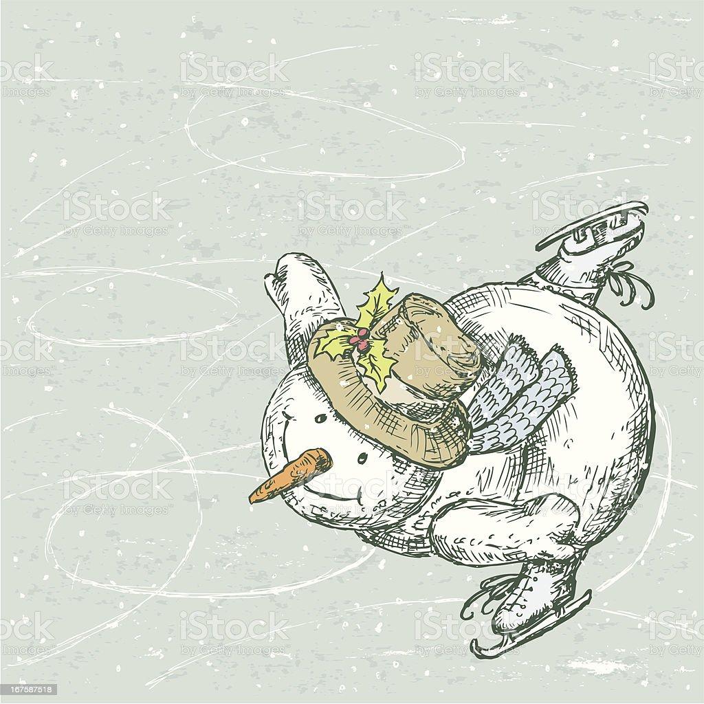 Snowman skater royalty-free stock vector art