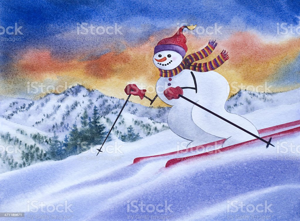 Snowman Skiing Downhill royalty-free stock vector art