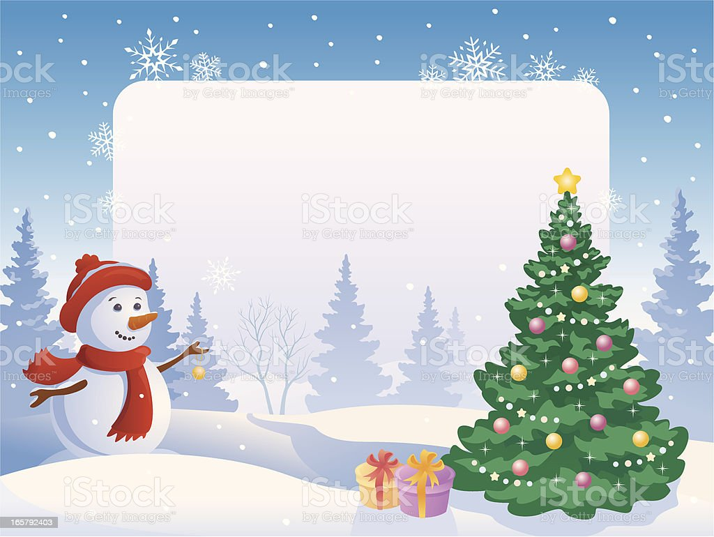 Snowman with a blank placard royalty-free stock vector art