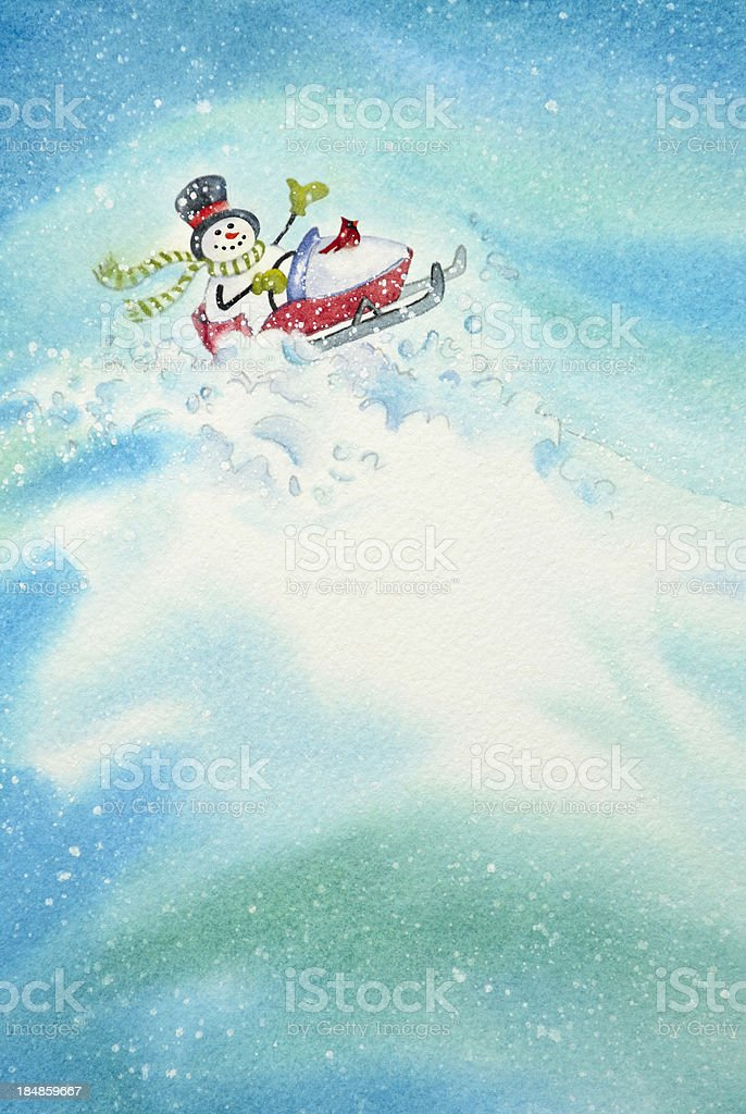 Snowmobiling Snowman royalty-free stock vector art