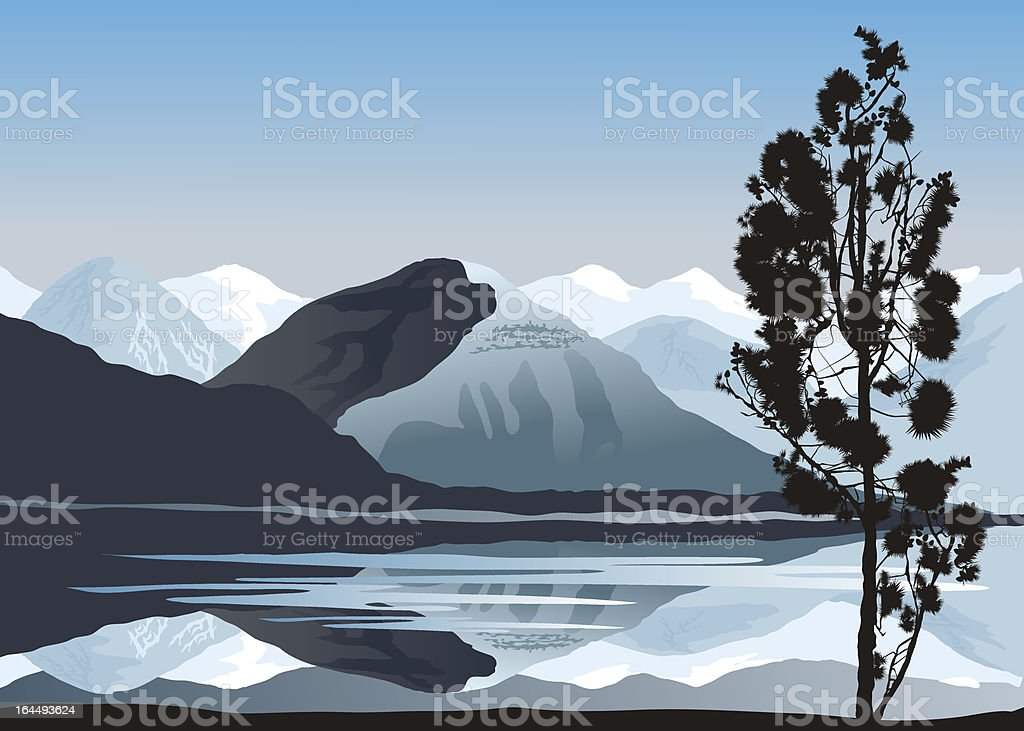 Snowy mountain royalty-free stock vector art