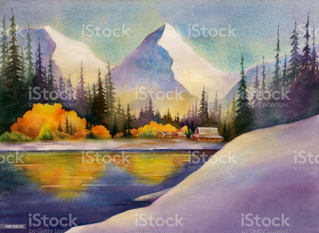 Snowy Mountain Lake royalty-free stock vector art