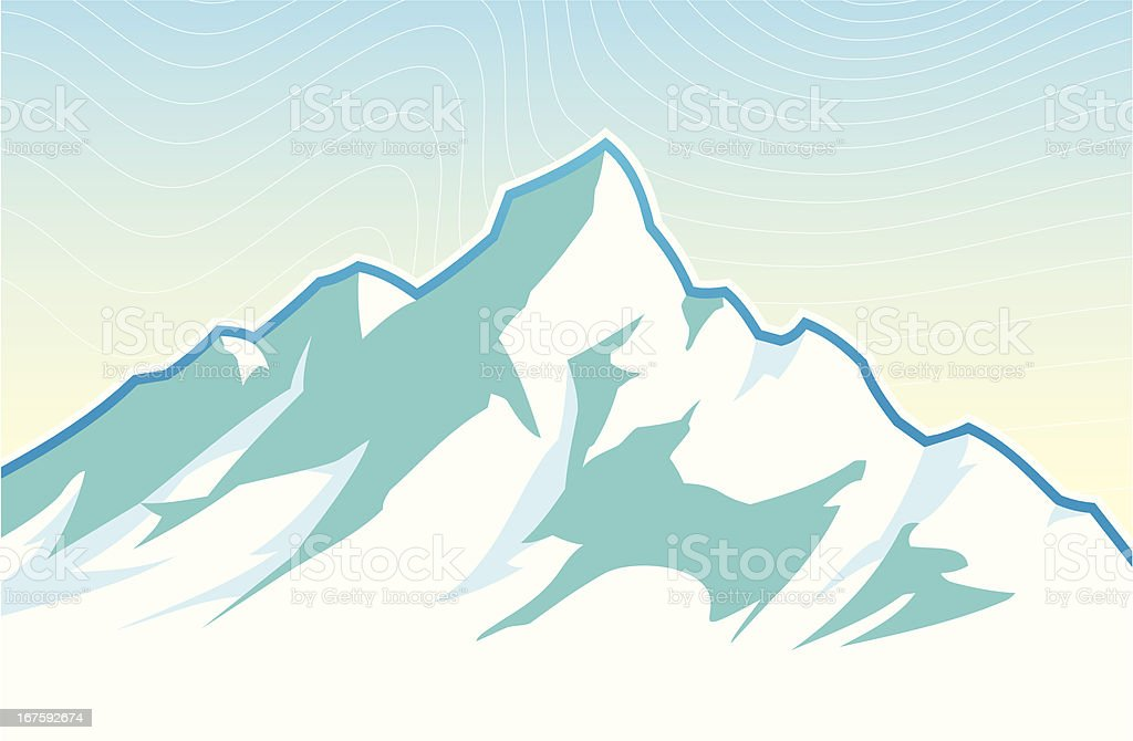 Snowy Mountain Peak royalty-free stock vector art