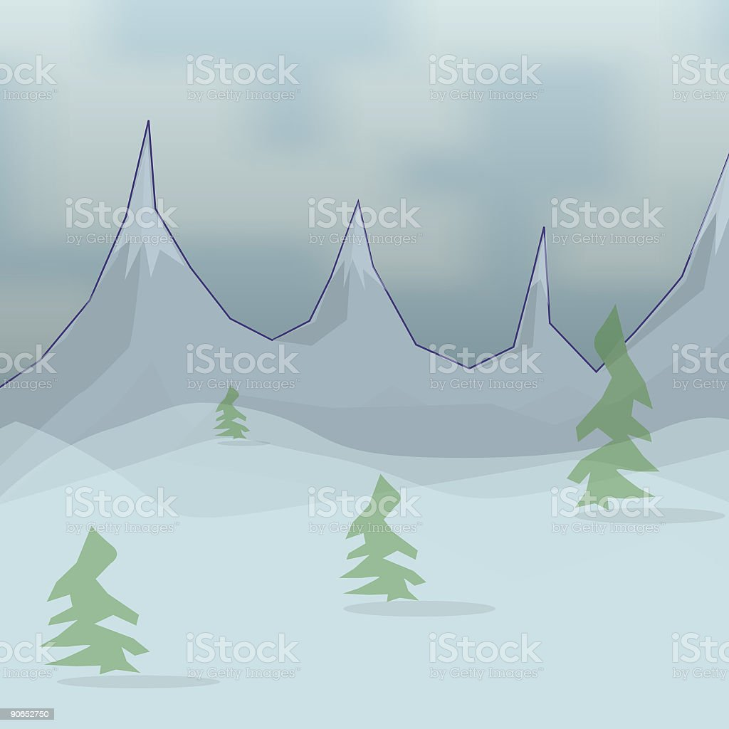 Snowy Mountains vector art illustration