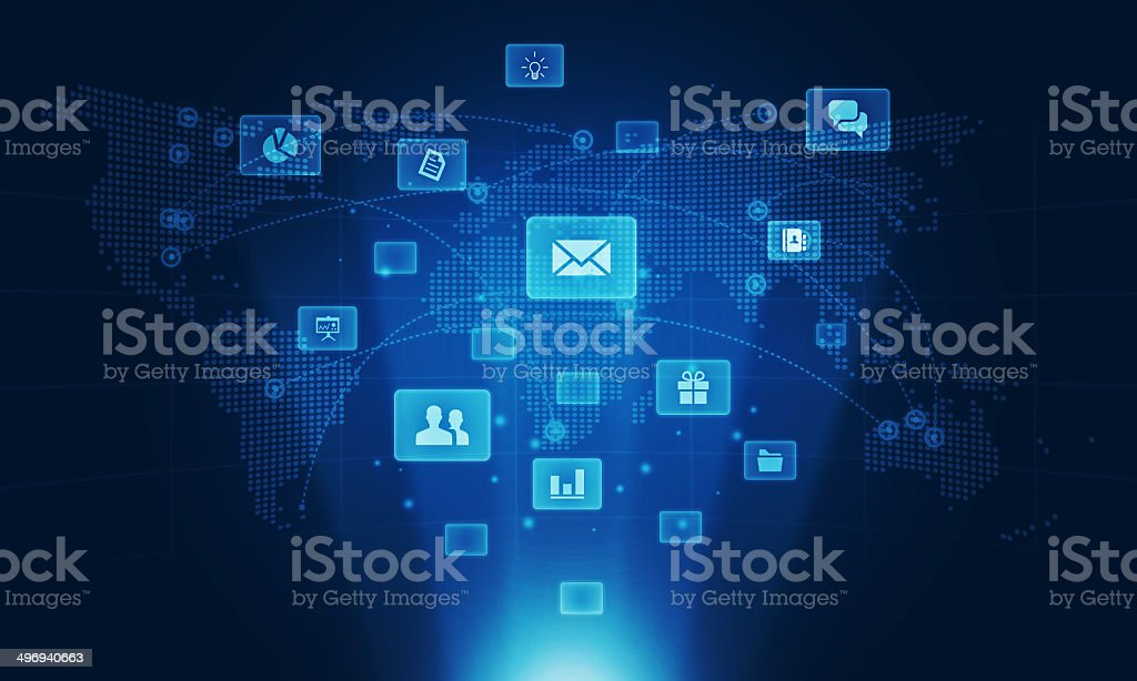 Socail business conection on global background vector art illustration