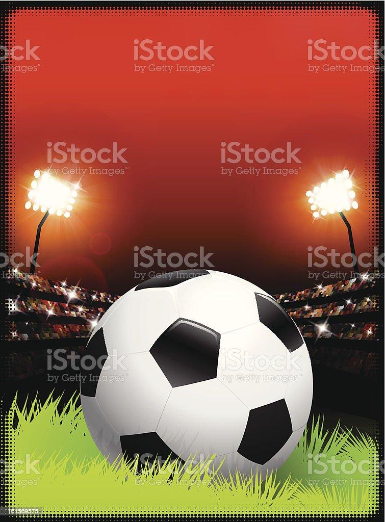 Soccer Ball on Stadium Background royalty-free stock vector art