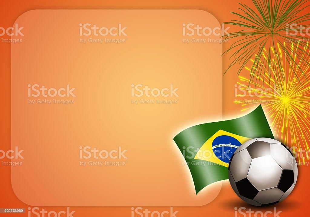 Soccer ball with Brazilian flag vector art illustration
