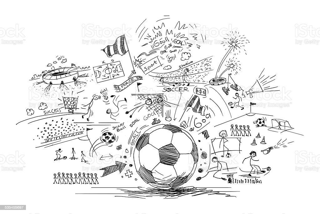 soccer doodle vector art illustration