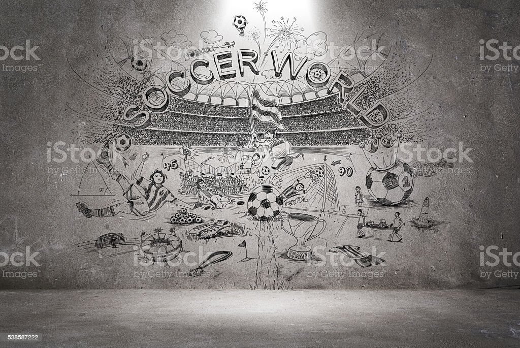 soccer doodle on the wall vector art illustration