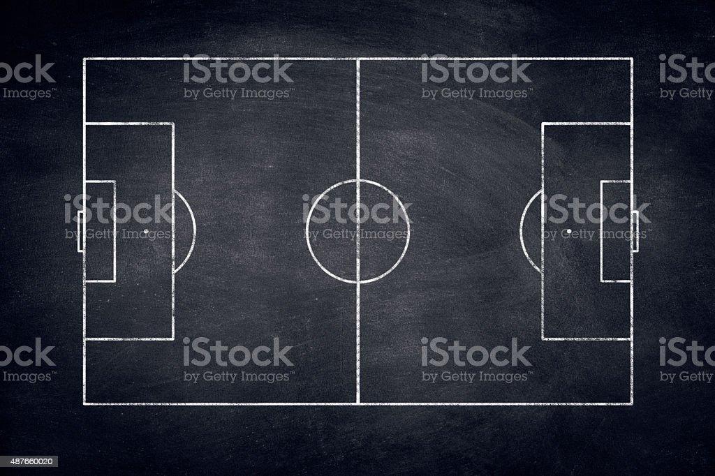 Soccer field on chalkboard vector art illustration
