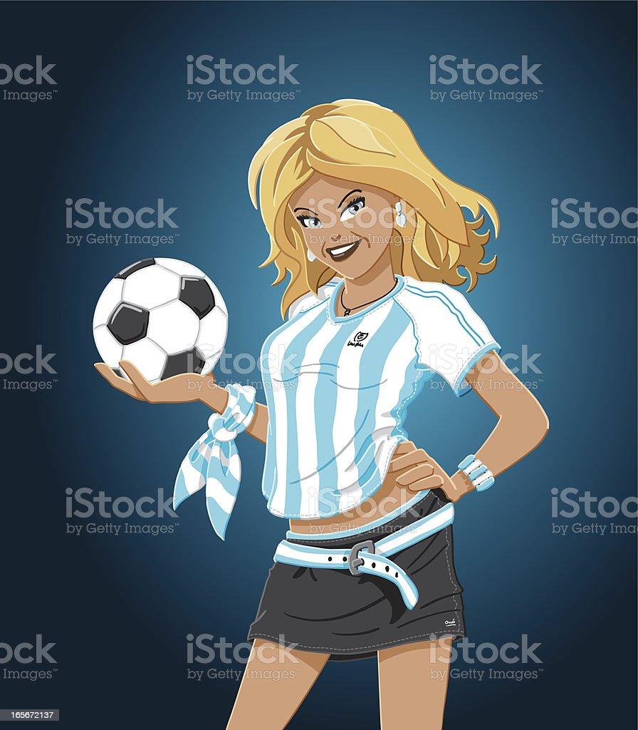 Soccer Girl Argentina vector art illustration