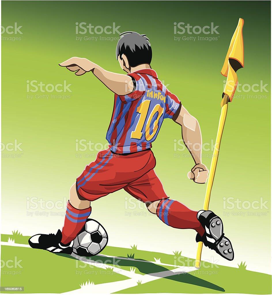 Soccer Player Corner Kick royalty-free stock vector art