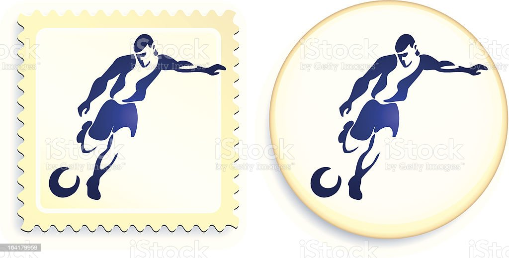 Soccer player stamp and button vector art illustration