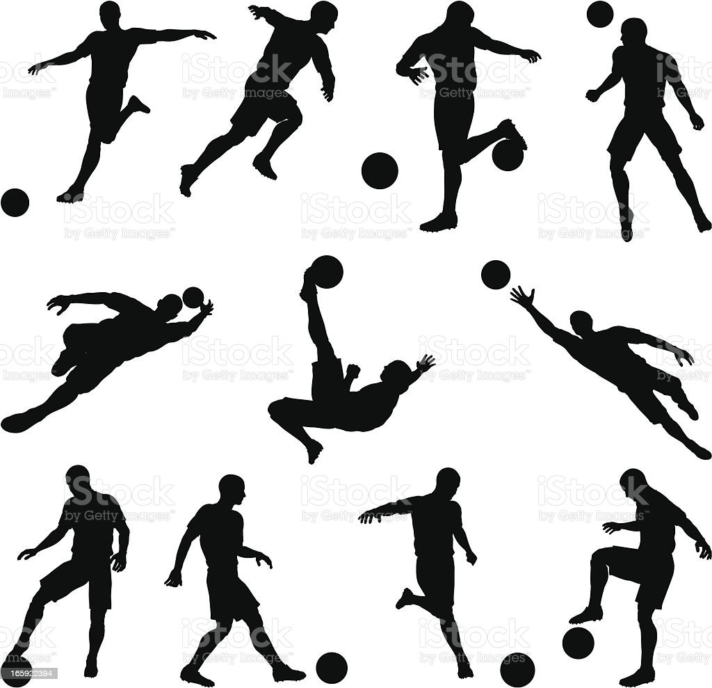 Soccer silhouettes in motion vector art illustration