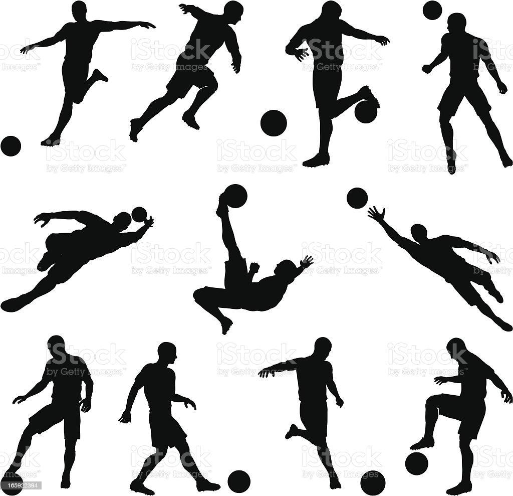 Soccer silhouettes in motion vector art illustration