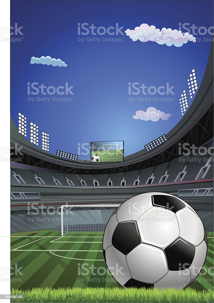 Soccer stadium and ball royalty-free stock vector art