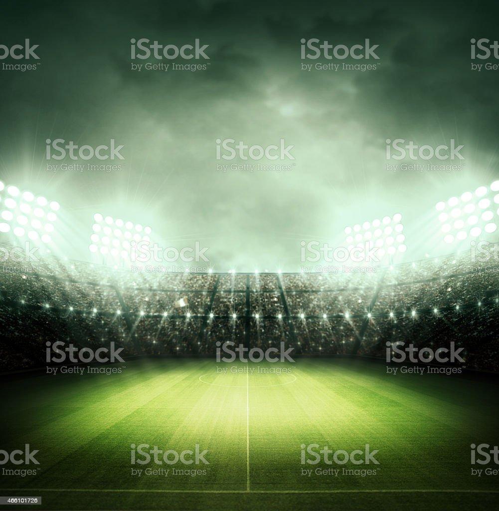 soccer stadium and the bright lights vector art illustration