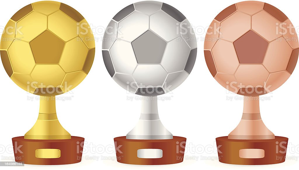 Soccer trophy set royalty-free stock vector art