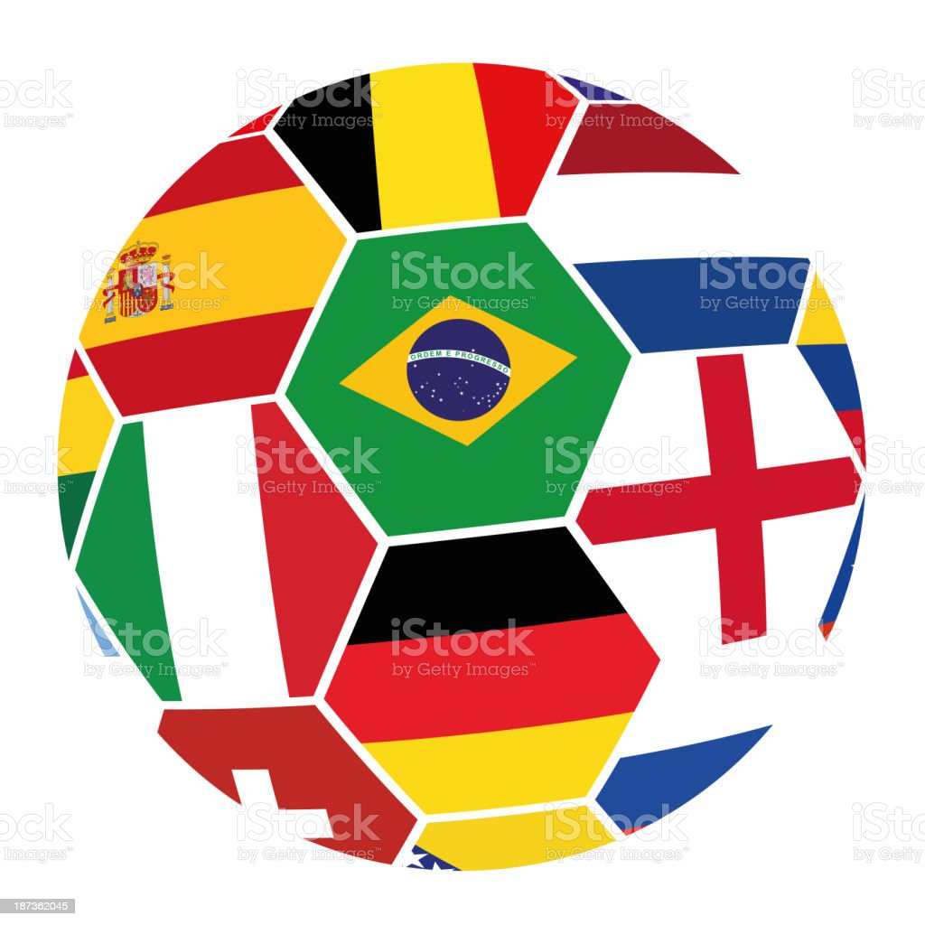 Soccer with Flags from World Cup 2014 royalty-free stock vector art
