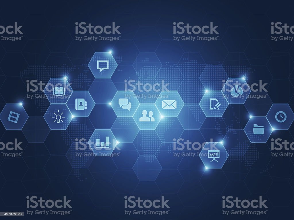 Social business communication background vector art illustration