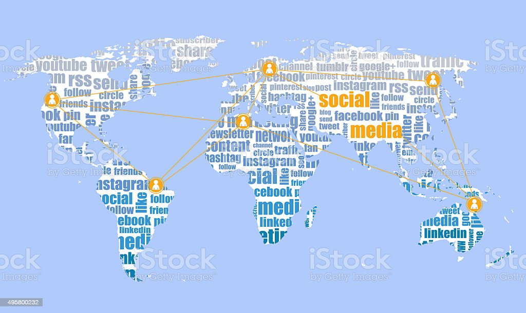 social media brands, tagcloud and world map vector art illustration