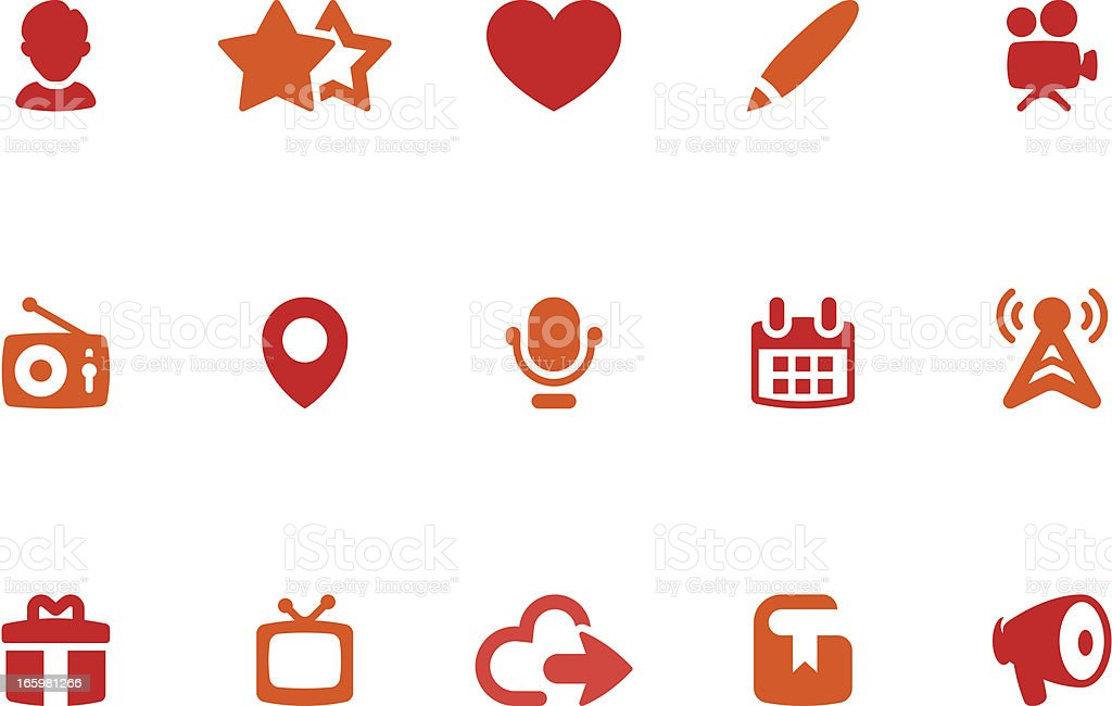 Social Media Icon Set | Coral Series vector art illustration