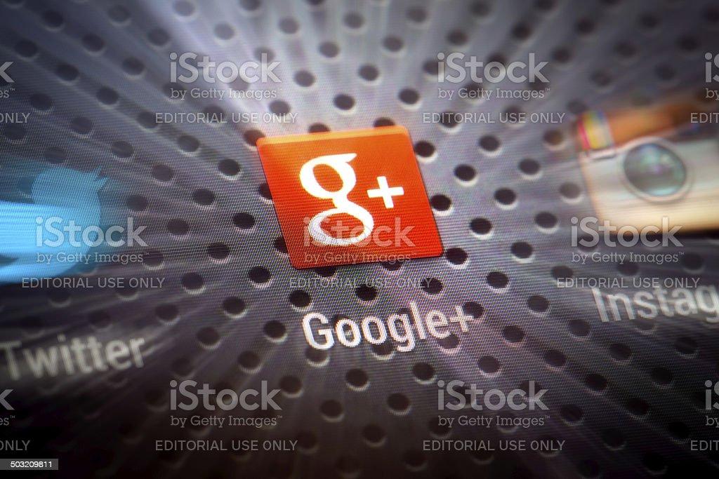 Social media icons on smart phone screen. vector art illustration