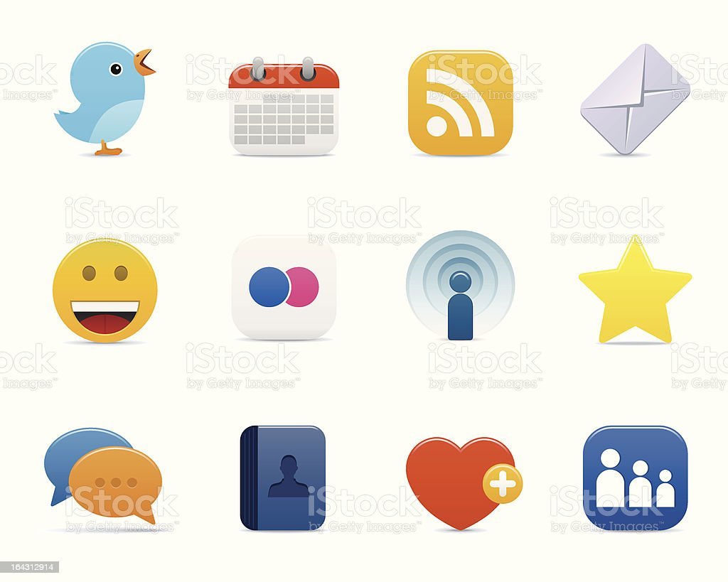 social media icons - smooth series vector art illustration