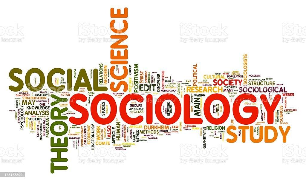 Sociology in word tag cloud vector art illustration