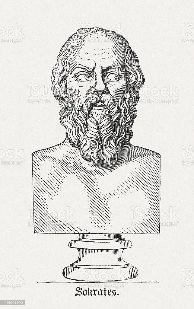 Socrates - Ancient Greek philosopher, published in 1878 vector art illustration