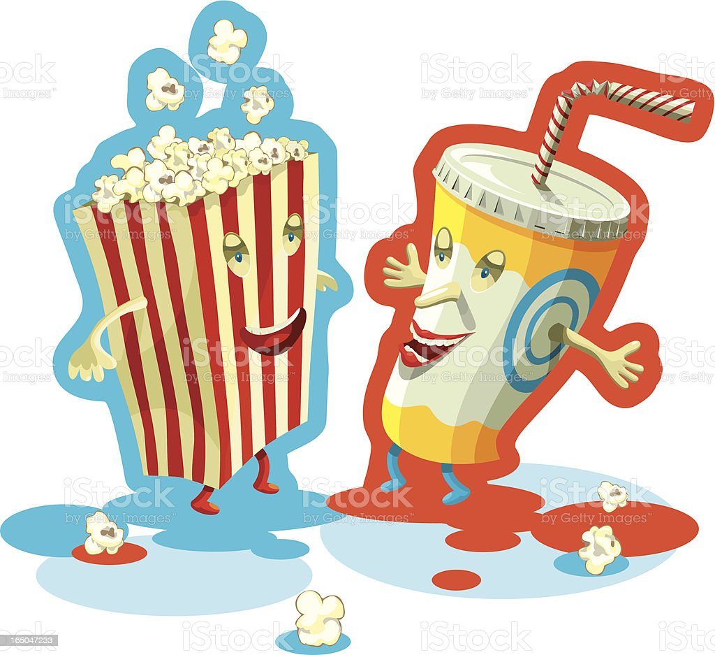 Soda and popcorn vector art illustration