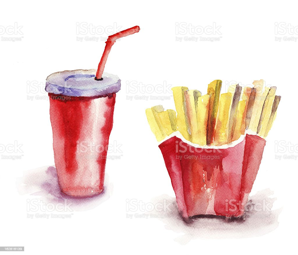 Soda drink with french fries vector art illustration