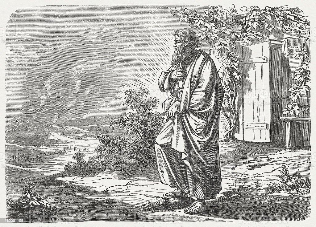 Sodom and Gomorrah (Genesis 19, 27-28) vector art illustration