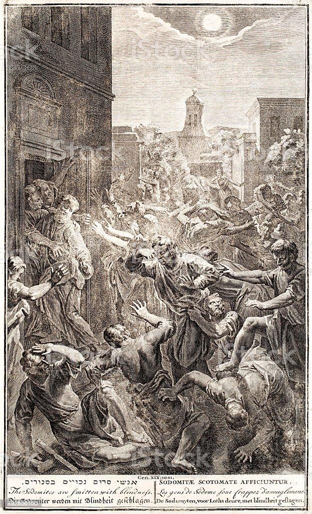 Sodomites are smitten with blindness, Genesis 19 vector art illustration